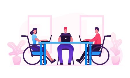 Handicapped Employees and Healthy Office Worker Sitting at Desk Working on Laptops and Communicate with Colleagues. Disability, Employment for Disabled Persons Concept Cartoon Flat Vector Illustration