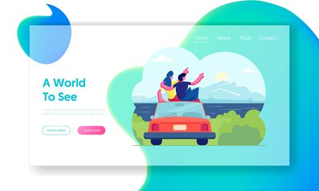 Happy Loving Couple Travel Together Website Landing Page. Man and Woman Sitting on Roof of Car Hugging and Looking on Sunset or Sunrise at Seascape Web Page Banner. Cartoon Flat Vector Illustration Ilustração