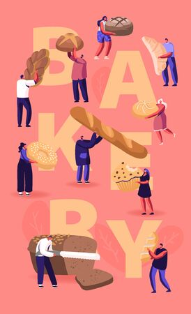 People Eating and Cooking Bakery Concept. Tiny Characters Presenting Homemade Bread and Wide Choice of Fresh Baked Production for Purchase Poster Banner Flyer Brochure Cartoon Flat Vector Illustration Illustration
