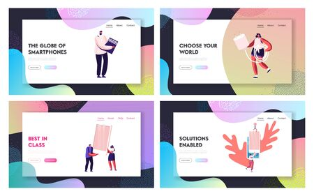 People Use Smartphones Website Landing Page Set. Male and Female Characters Holding Devices for Mobile Phones Sd Card and Charger. Smart Technologies Web Page Banner. Cartoon Flat Vector Illustration