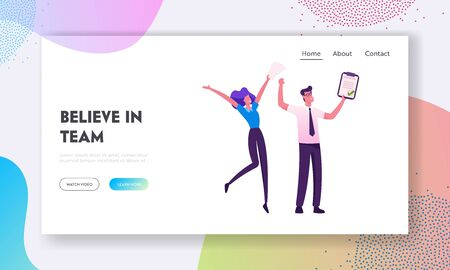 Business Colleagues Rejoice Contract Signing Website Landing Page. Businesspeople Rejoice for Good Job in Office Successful Project Goal Achievement Web Page Banner. Cartoon Flat Vector Illustration