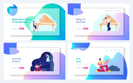 Man Singing Serenade to Woman, Boy Practice Piano Playing Website Landing Page Set. Student Prepare to Performance on Stage, Love Song at Night Web Page Banner. Cartoon Flat Vector Illustration