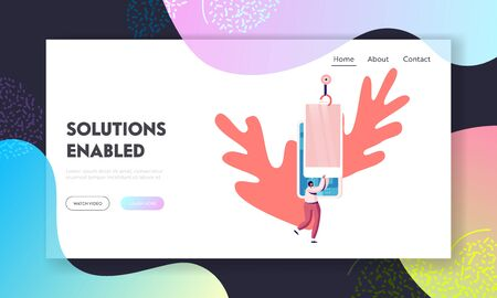 Tech Production Factory Website Landing Page. Robot Arm Assemble Smartphone Cover Microcircuits with Touch Screen. Woman Holding Huge Mobile Phone Web Page Banner. Cartoon Flat Vector Illustration