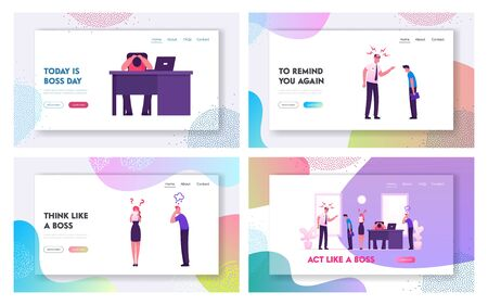 Angry Boss and Employees Conflict Situation Website Landing Page Set. Furious Director or Ceo Yelling on Delinquent Workers in Office. Frustration Web Page Banner. Cartoon Flat Vector Illustration Illustration
