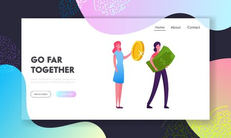 Financial Profit Salary Wealth Website Landing Page. Woman Stand in Queue Holding Huge Golden Coin and Banknote. Characters with Money Cash Shopping Web Page Banner. Cartoon Flat Vector Illustration