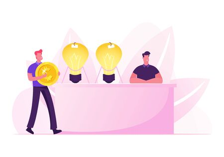 Businessman with Huge Golden Coin in Hands Coming to Desk with Inventor Sitting near Glowing Light Bulbs Selling Business Ideas. Creativity and Innovations Concept Cartoon Flat Vector Illustration Ilustração
