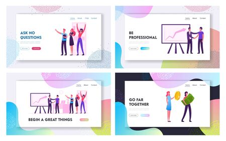 Happy Business People Team, Financial Success Website Landing Page Set. Office Employees Rejoice for Grow Chart. Women Holding Money Coin and Banknote Web Page Banner. Cartoon Flat Vector Illustration