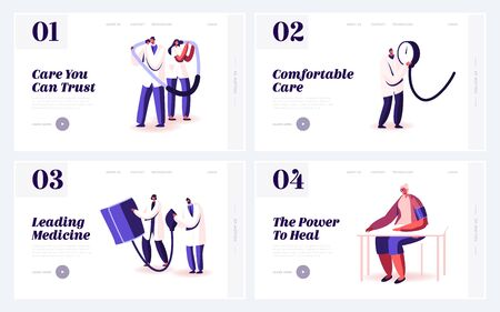 Doctor and Patient Measuring Blood Pressure Website Landing Page Set. Medical Treatment and Healthcare, Clinical Analysis Diagnostic Tests in Clinic Web Page Banner. Cartoon Flat Vector Illustration