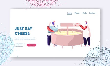Dairy Production Industry Plant Website Landing Page. Worker Pour Milk into Creamery on Modern Manufactory Prepare Cheese Mixing Cream in Huge Mixer Web Page Banner. Cartoon Flat Vector Illustration 向量圖像