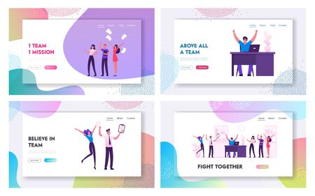 Happy Business Team Rejoice for Successful Deal Website Landing Page Set. Cheerful Businesspeople Celebrate Success at Workplace, Jump and Laugh Web Page Banner. Cartoon Flat Vector Illustration Ilustração
