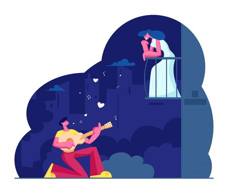 Man Play Guitar Sing Song to Woman on Balcony. Guitarist Serenade at Moonlight on Night City Street. Girl Listen Music. Couple Love Relationship, Romantic Evening Date Cartoon Flat Vector Illustration Ilustração