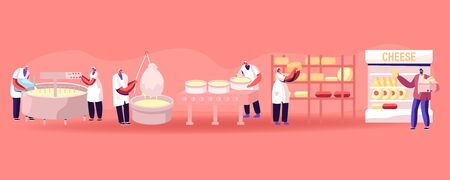 Cheese Food Production Factory. Commercial Characters Make Dairy Machinery Process in Metal Tank. Milk Ripening Manufacturing Equipment Line, Delivery for Sale in Shop Cartoon Flat Vector Illustration Ilustração