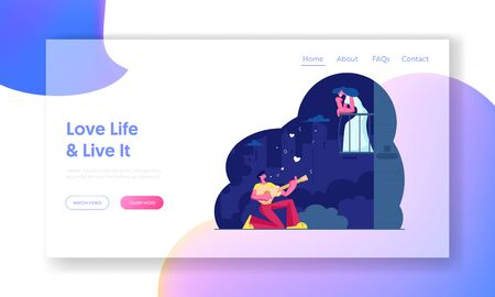Man Play Guitar Sing Serenade to Woman Website Landing Page. Girl Listen Music on Balcony at Night. Couple Love Relationship, Romantic Evening Date Web Page Banner. Cartoon Flat Vector Illustration Ilustração