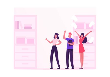 Male and Female Employees Characters Happily Laughing at Office Workplace, Cheerful Business People Team Rejoice for New Working Project Success Teamwork Group Working Cartoon Flat Vector Illustration Ilustração