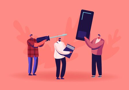 Fixing or Assembling Smartphone Service Concept. Male Character Holding Giant Mobile Phone. Engineer with Huge Screwdriver, Man Carry Secure Digital Memory Card. Cartoon Flat Vector Illustration
