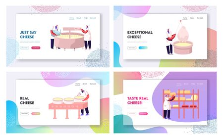 Dairy Factory Cheese Production Flowchart Website Landing Page Set. Milk Pasteurization Coagulation Pressing Waxing and Ripening Machinery Process Web Page Banner. Cartoon Flat Vector Illustration Ilustração