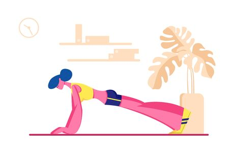 Female Character in Perfect Physical Shape Doing Fitness, Yoga or Aerobics Exercises at Home, Plank Training for Good Feeling and Healthy Life, Woman Engage Sport. Cartoon Flat Vector Illustration
