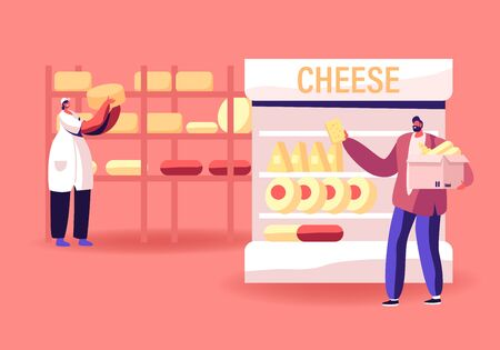 Industrial Factory Milky Food Manufacture and Selling. Woman Worker Put Cheese Heads on Racks, Man Customer Choose and Take Dairy Production on Supermarket Shelf. Cartoon Flat Vector Illustration