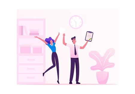 Business Colleagues Rejoice with Hands Up for Contract Signing. Man and Woman Businesspeople Rejoice for Good Job in Office Successful Project Victory Goal Achievement Cartoon Flat Vector Illustration