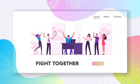 Businesspeople Celebrate Project Development and Reach Target in Office Website Landing Page. Company Teamwork Collaboration of People Work Together Web Page Banner. Cartoon Flat Vector Illustration Ilustração