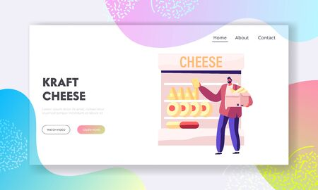 Cheese Selling Website Landing Page. Man Customer Choose and Take Dairy Production on Supermarket Shelf. Shopping in Grocery, Healthy Nutrition Web Page Banner. Cartoon Flat Vector Illustration