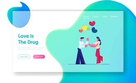 Romantic Dating Website Landing Page. Man Giving Bunch of Heart Air Balloons to Young Woman. Couple Happy Saint Valentines Day, Birthday Celebration Web Page Banner. Cartoon Flat Vector Illustration Ilustração