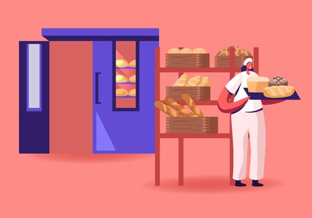 Woman Baker in Sterile Uniform and Hat Holding Tray with Various Fresh Hot Baked Bread Loafs Just Taken from Oven. Pastry and Baked Food Production and Manufacture Cartoon Flat Vector Illustration Ilustração