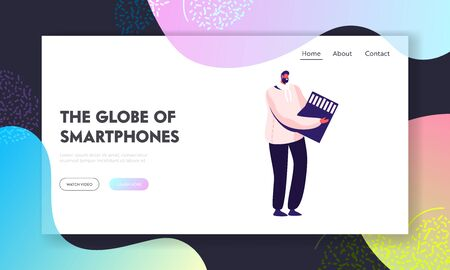 People using Mobile Technologies and Electronics Website Landing Page. Tiny Male Character Holding Huge Sd Memory Card for Smartphone or Photo Camera Web Page Banner. Cartoon Flat Vector Illustration