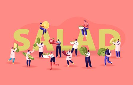 People with Ingredients for Cooking Salad Concept. Tiny Male and Female Characters Holding Huge Vegetables for Healthy Food Nutrition Poster Banner Flyer Brochure. Cartoon Flat Vector Illustration Ilustração