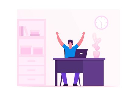 Business Man Celebrating Victory or Successful Deal Sitting at Working Desk with Hands Up Happily Gesturing. Happy Manager Winner, Successful Worker Celebrate Success. Cartoon Flat Vector Illustration Ilustração