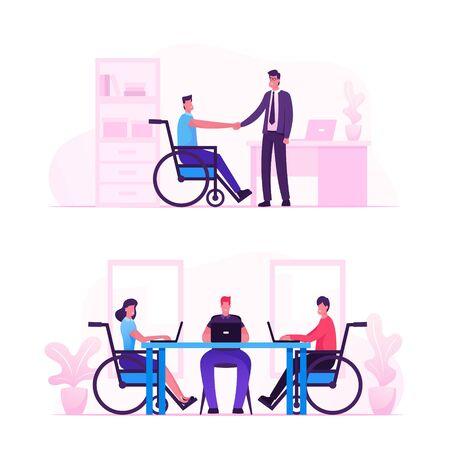 Occupazione della disabilità, lavoro per persone disabili, assumiamo il concetto di tutte le persone. Personaggio disabile su adattamento su sedia a rotelle nel posto di lavoro dell'ufficio o nella zona di coworking. Cartoon piatto illustrazione vettoriale Vettoriali