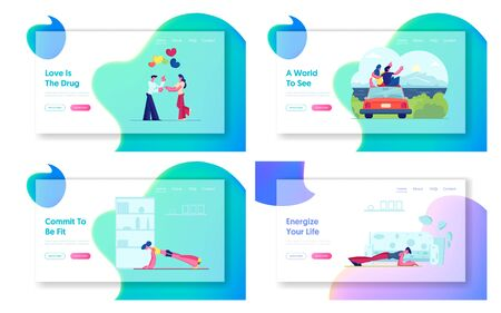 Romantic Balloons Date, Couple Travel, Sport at Home Website Landing Page Set. Vacation Escape by Car, Trip. Fitness Plank Exercise Healthy Lifestyle Web Page Banner. Cartoon Flat Vector Illustration