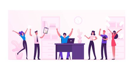 Business People Celebrate Project Development and Reach Target in Office. Company Teamwork Collaboration of People Work Together. Business Process Workflow Management Cartoon Flat Vector Illustration