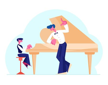Little Boy in Concert Dress Training on Grand Piano with Help of Experienced Teacher. Musical Education Concept. Young Pianist Student Prepare to Performance on Stage. Cartoon Flat Vector Illustration Ilustração