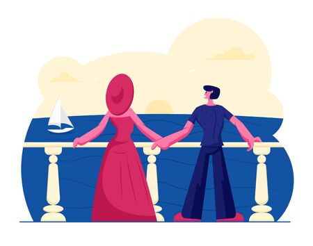 Young Couple Stand on Outdoor Terrace Looking on Beautiful Seascape with Floating Sailing Ship. Relaxing Woman in Elegant Gown and Broad-brim and Young Man Rear View. Cartoon Flat Vector Illustration