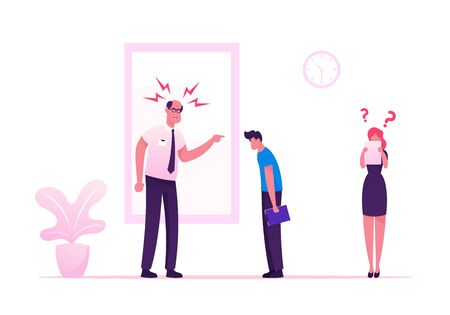 Angry Furious Boss Scolding and Rebuking Incompetent Employees in Office. Dissatisfied Ceo Shouting on Businessman and Businesswoman at Workplace. Stress Situation Cartoon Flat Vector Illustration