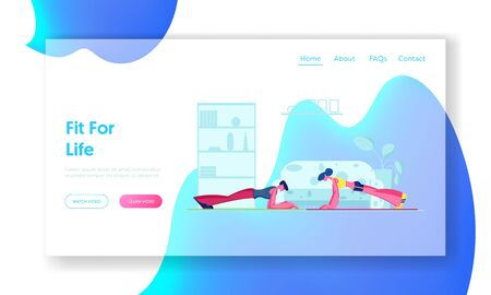 Family Couple Fitness Exercise Website Landing Page. Young Sporty Woman and Man Doing Plank at Home. Sports Training Endurance, Healthy Sport Workout Web Page Banner. Cartoon Flat Vector Illustration