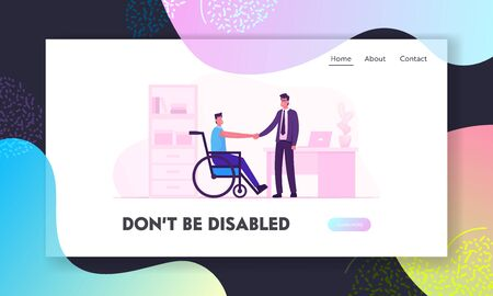 Disability Employment, Work for Disabled People Website Landing Page. Handicapped Man in Wheelchair Shaking Hand with Boss or Colleague in Office Web Page Banner. Cartoon Flat Vector Illustration