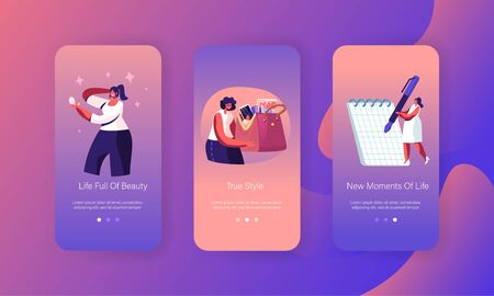 Woman Lifestyle and Ladies Stuff Mobile App Page Onboard Screen Set. Girl Holding Bag with Things, Look in Mirror, Write in Notepad Concept for Website or Web Page, Cartoon Flat Vector Illustration