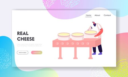Dairy Production Manufacture, Cheese Making Website Landing Page. Worker Put Raw Mass into Special Round Forms for Making Blocks. Milk Food Industry Web Page Banner. Cartoon Flat Vector Illustration 일러스트