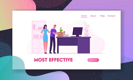 Career Failure, Dismissal Website Landing Page. Sad Worker Put Belongings in Box. Fired Employee Leaving Office with Things in Cardboard Package Web Page Banner. Cartoon Flat Vector Illustration
