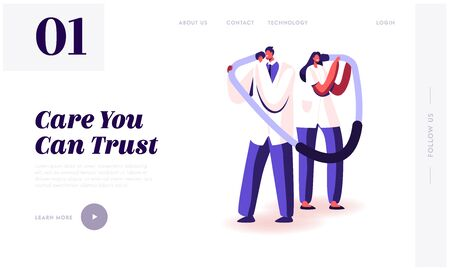 Health Care and Medicine Website Landing Page. Male and Female Doctors Characters Listening Patient Heart Beating at Huge Stethoscope, Blood Pressure Web Page Banner. Cartoon Flat Vector Illustration