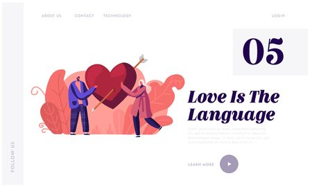Love, Romantic Dating Website Landing Page. Loving Couple Share Huge Red Heart with Arrow. Human Relations, Newlywed Couple Spending Time Together Web Page Banner. Cartoon Flat Vector Illustration