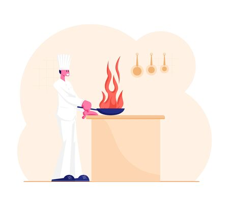 Professional Chef Cooking Food Prepare Vegetables or Flambe Meat Over Open Fire. Male Character in White Cook Uniform Holding Pan with Burning Flame. Hotel Service Cartoon Flat Vector Illustration Reklamní fotografie - 134901908