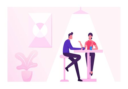 Coffeehouse, Coffee Shop or Cafe with People Sitting at Table Drinking Coffee, Relaxed Male and Female Characters Spend Time Together Having Break or Weekend Relax. Cartoon Flat Vector Illustration Illustration