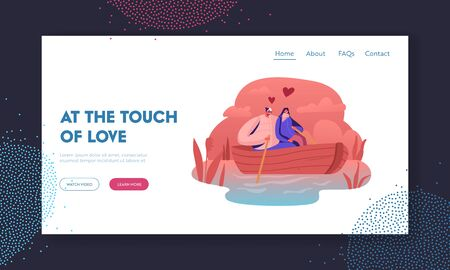 Happy Couple Floating Boat Website Landing Page. Male and Female Characters Hugging, Rowing with Paddle. Loving People Summertime Vacation Sparetime Web Page Banner. Cartoon Flat Vector Illustration Stockfoto - 134901920