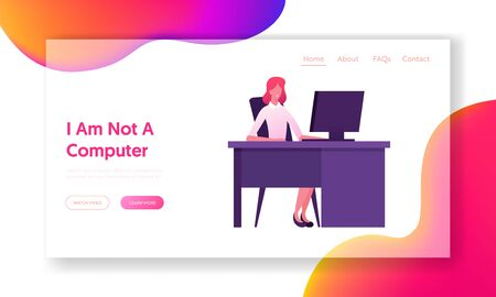 Business Woman Working on Personal Computer at Office Workplace Website Landing Page. Hardwork Employee Female Character Sitting at Desk Work on Pc Web Page Banner. Cartoon Flat Vector Illustration
