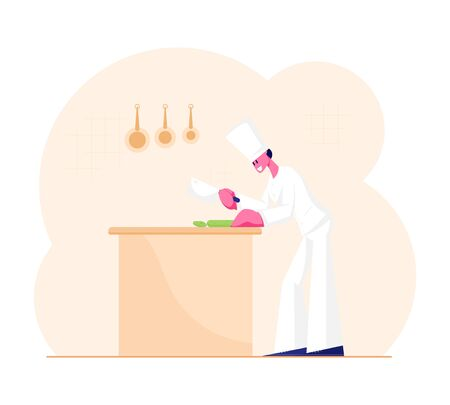 Concentrated Man Chef in White Uniform and Toque Slicing Vegetables on Table for Cooking Meal. Professional Cook Male Character Preparing Food in Restaurant Kitchen. Cartoon Flat Vector Illustration