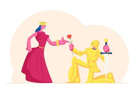 Cavaliere in armatura scintillante d'oro in piedi sul ginocchio con giuramento di spada che dà alla regina o alla principessa che indossa la corona. Scena storica nel castello, attori che interpretano ruoli nel film. Cartoon piatto illustrazione vettoriale