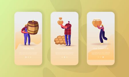 Beekeeping Industry Mobile App Page Onboard Screen Set. Beekeepers in Uniform Holding Glass Jar and Barrel with Honey and Honeycombs Concept for Website or Web Page, Cartoon Flat Vector Illustration
